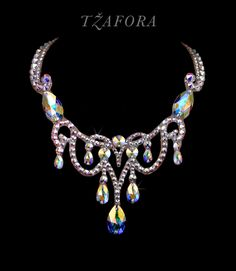 """Magic Moments"" - Swarovski ballroom necklace. Ballroom dance jewelry, ballroom dance dancesport accessories. www.tzafora.com Copyright © 2016 Tzafora."