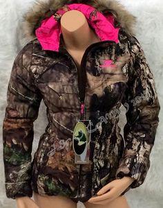 NEW Mossy Oak Womens HOT PINK Camo Fur Hood Insulated Bubble Jacket S M L  XL 2XL in 988db875c