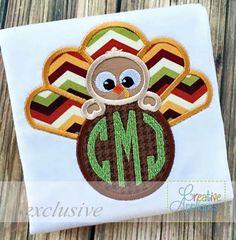 turkey monogram applique $ REPIN THIS then click here: www.creativeappliques.com