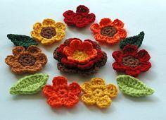 Autumn colour crochet appliques