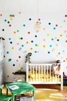 Adore the colourful polka dots wall - 10 Colourful Nurseries | Tinyme Blog