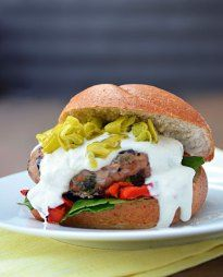 Greek Turkey Burger with Feta-Yogurt Sauce - Host The Toast