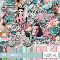 Boho Princess Page Kit by Heartstrings Scrap Art