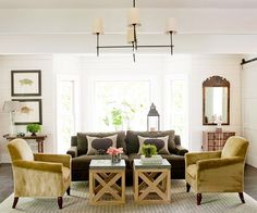 Mixing modern comforts with traditional pieces creates a unique look in this space. More living room design ideas: http://www.bhg.com/rooms/living-room/makeovers/living-room-decorating-ideas/?socsrc=bhgpin072913woodstools=21