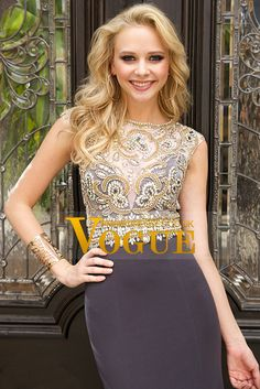 2015 Scoop Mermaid Prom Dresses Beaded Bodice Chiffon&Tulle Sweep Train