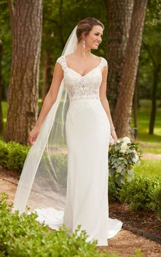 6366 Cap Sleeve Column Wedding Dress by Stella York. Find this dress at Janene's Bridal Boutique located in Alameda, Ca. Contact us at (510)217-8076 or email us info@janenesbridal.com for more information.