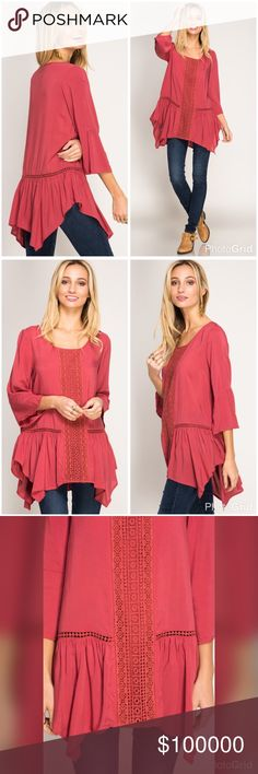 Dusty coral lace detail asymmetric hem tunic 3/4 SLEEVE TOP WITH  ASYMMETRICAL BOTTOM RUFFLES AND LACE DETAIL S:60%COTTON 40%POLYESTER C:100%COTTON  WOVEN TOP Tops Tunics