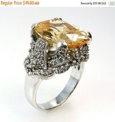 Sterling Silver Citrine Cocktail Ring 925 ESPO by jujubee1 on Etsy