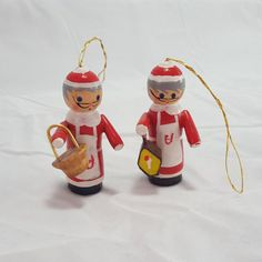 Vintage Wooden Christmas Ornament Pair Mrs. Claus Figures Holiday Tree Decor Set of 2 Santa's Wife German or Scandinavian Style Painted by PinkFlyingPenguin