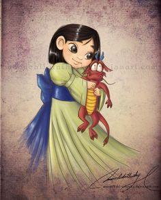 "Child *Mulan and Mushu (her guardian Dragon)*  [Disney movie ""Mulan"" (1998)]~[Artistic work by *moonchildinthesky on deviantART  2011]  'h4d'120905"