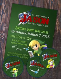 Zelda invitation birthday pinterest birthdays the invitation features a personalized logo of the iconic game along with its main character stopboris Gallery