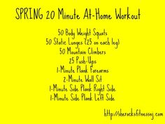 At-Home Workout Winner of the FlapJacked Giveaway 20 Min Workout, Workout Tops, Workout Ideas, Calorie Burning Workouts, Weight Workouts, Body Weight Squat, Train Insane Or Remain The Same, Baby Fat, Wednesday Workout