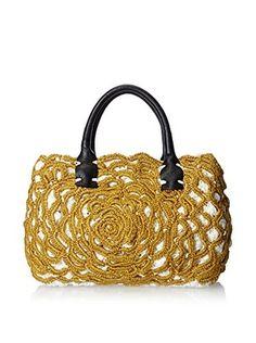Lorenza Gandaglia Women's Metallic Embellishment Raffia Bag, Ecru/Gold