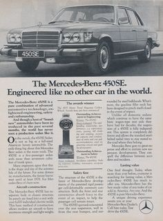 1975 Mercedes-Benz 450SE Car Photo Ad Vintage by AdVintageCom