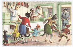 Dressed Cats At The Butchers Shop Alfred Mainzer