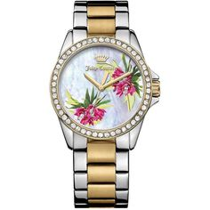 Juicy Couture Women's Laguna Two-Tone Crystal Bracelet Watch (5,890 DOP) ❤ liked on Polyvore featuring jewelry, watches, exotic floral patter, 2 tone watches, crystal jewelry, crystal bracelet watch, floral watches and crystal watches