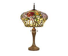 Lampada da tavolo stile Tiffany in vetro e metallo Summer - H 72 cm