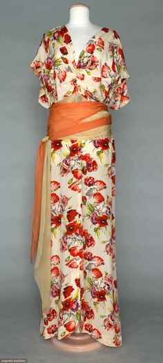 Circa 1940 floral print evening gown.