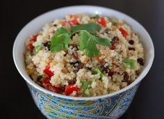 Lime-Cilantro Quinoa Salad:  Need to find something to substitute for the bell peppers that make my tummy say grrrrrr.