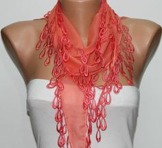 WAS 15 NOW USD 990   Hot Pink Scarf Cotton Scarf by fatwoman, $9.90