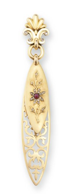 A FABERGÉ JEWELED GOLD BOOKMARK AND PAPER KNIFE, WORKMASTER EDUARD SCHRAMM, ST. PETERSBURG, CIRCA 1890 of dagger form with shaped handle, the lower section pierced in an openwork design of scrolling foliage, the upper section applied with a diamond-set blossom centered with a ruby, surmounted by an elaborate palmette set with rose-cut diamonds, struck with workmaster's initials, 56 standard length 3 in. (7.7 cm)