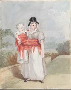 Portread o Mrs Gwyn (Alc Rolls a'i nyrs), gan George O. Delamotte