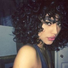 Image result for short naturally curly hair (Curly Hair Bangs)