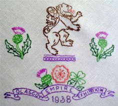 Hand-embroidered tablecloth celebrating the Glasgow Empire Exhibition in 1938.