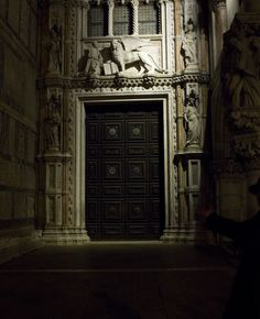Porta della carta  a Palazzo Ducale a Venezia. I love the square at night, it is full of magic.