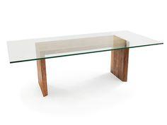 Rotsen muebles superiores de cristal Canela pliegue doble Mesa de comedor