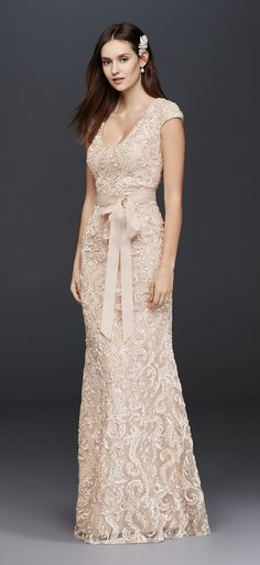 Champagne Cap Sleeve Soutache Lace Dress with Grosgrain Sash by Betsey & Adam available at David's Bridal