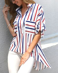 Fashion Women's Autumn Striped Long Sleeve Buttons Shirt Ladies Casual Irregular Loose Comfy Top Blouse, S Hijab Style, Fashion Outfits, Womens Fashion, Fall Fashion, Fashion Trends, Pattern Fashion, Blouse Designs, Shirt Blouses, Blouses For Women