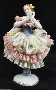 "Antique 6"" Dresden Lace Vokstedt Ballerina Girl Figurine Pink White Blue Flowers   eBay"
