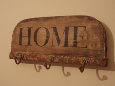 Rustic Iron Home Wall Plaque with Hooks, Shabby Chic Style, Wall Plaques, Hooks, Iron, Rustic, Country Primitive, Retro, Farmhouse Style, Primitives