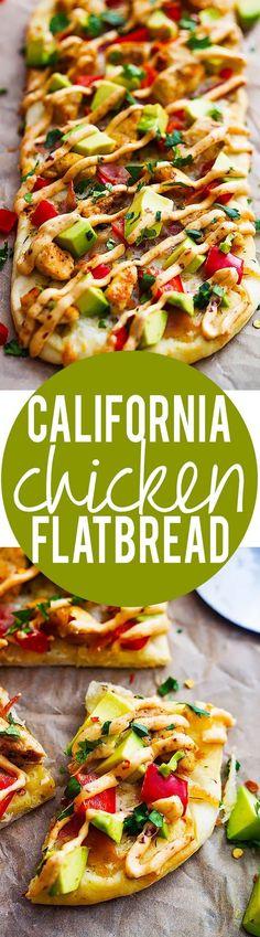 California Chicken Flatbread with Chipotle Ranch Sauce   Creme de la Crumb