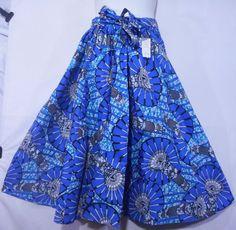 African Boho Maxi Skirt Women Ankara Wax Skirt Long Wide Flare Elastic Waist P09 #Handmade #ALine