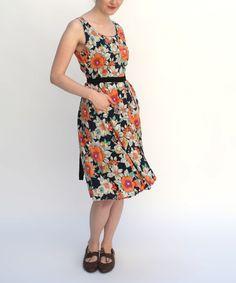 Love this Navy & Orange Garden Bloom Dress on #zulily! #zulilyfinds