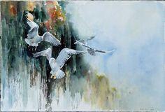 Unsere verkauften Aquarellbilder 2014 | Zielanflug (c) ein Möwenaquarell von Hanka Koebsch #Aquarell #watercolor #Möwen #seagull