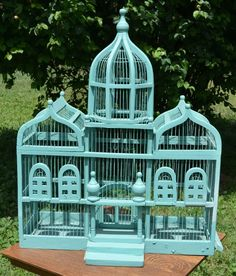 "RARE LARGE ANTIQUE WOOD & WIRE BIRD CAGE 33"" HIGH X 27"" WIDE"