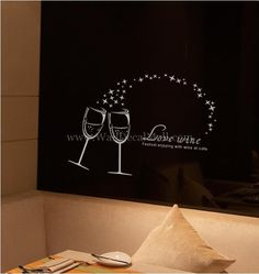Love Wine Festival Enjoying With Wine At Cafe Wall Decals Home Tv, Tv Background, Pub Interior, Interior Ideas, Christmas Window Stickers, Modern Wall Decals, Cafe Wall, Cartoon Wall, Star Wars