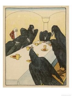 Giclee Print: The Seven Ravens (Seven Brothers Transformed by a Wicked Spell) Sit at the Dinner Table by Willy Planck : Crow Art, Raven Art, Blackbird Singing, Quoth The Raven, Jackdaw, Crows Ravens, Grimm Fairy Tales, Framed Artwork, Bird Artwork