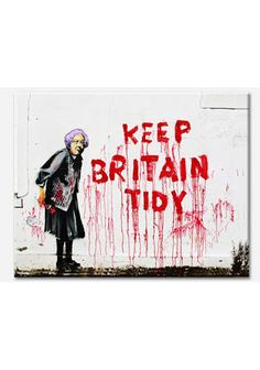 Keep Britain Tidy Banksy printed on to a canvas which would be a great edition to any home.    Size : (W40cm X H30cm) X 1