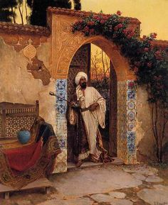 By the Entrance, Rudolph Ernst  Orientalism (19C romantic Western art vision of M.E./E Asia/N Africa)