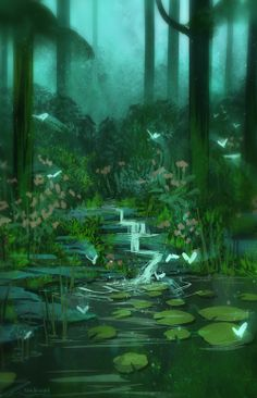 51 Enigmatic Forest Concept Art That Will Amaze You Fantasy Art Landscapes, Fantasy Landscape, Landscape Art, Pond Drawing, Art Environnemental, Casa Anime, Art Et Nature, Fantasy Background, Lake Pictures