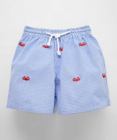 Look what I found on #zulily! Blue Embroidered Crab Swim Trunks - Infant, Toddler & Boys by K&L #zulilyfinds