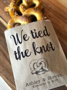 We tied the Knot Pretzel Bags Pretzel Bags Pretzel sleeves Wedding Snack Bags Wedding Favors Fo&; We tied the Knot Pretzel Bags Pretzel Bags Pretzel sleeves Wedding Snack Bags Wedding Favors Fo&; Wedding Puns, Wedding Snacks, Fall Wedding, Dream Wedding, Our Wedding, Wedding Bells, Wedding Venues, Food Truck Wedding, Wedding Foods
