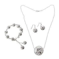 NUOLUX Boule de femmes en forme de bijoux Set Bracelet Collier boucles d'oreilles (argent)