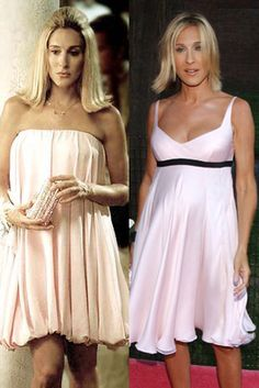 Vestido 'doll' Un vestido 'doll' en rosa palo en dos versiones. Hasta el corte de pelo es similar.