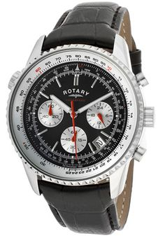 Rotary GS00015-19 Watches,Men's Aquaspeed Chronograph Black Dial Black Genuine Leather, Men's Rotary Quartz Watches $79.00