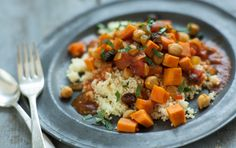 Named after the vessels they're traditionally cooked in, tagines often feature less-utilized cuts of meat that are stewed for a long time. This version is vegetable-based and cooks quite quickly. Its warm flavors pair wonderfully with a quick tart lemon couscous. Inspired by Whole Planet Foundation® microcredit client recipes.